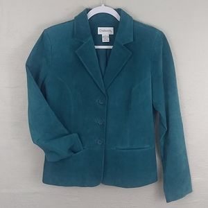 Chadwick's Teal Leather Single Breasted Blazer